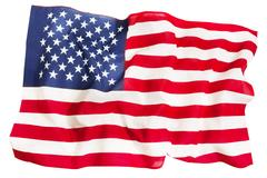 Textile ruffled American flag isolated on white Stock Photos