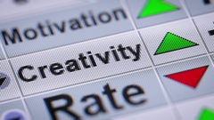 """Creativity"" on the screen. Looping. Stock Footage"