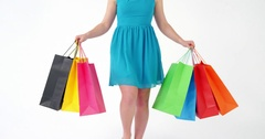 Woman walking with shopping bag Stock Footage
