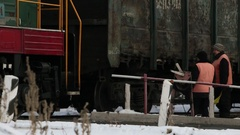 Workers of the railway crossing. Stock Footage