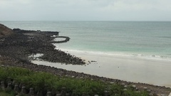 Rocky shore of a beach on Penghu Island, Taiwan. Stock Footage