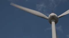 Wind turbines are moving at a wind power station in Penghu Island, Taiwan. Stock Footage