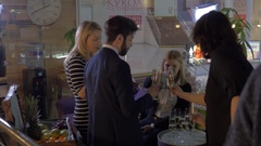 Drink reception at products presentation Stock Footage