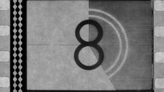 Old film reel countdown Stock Footage