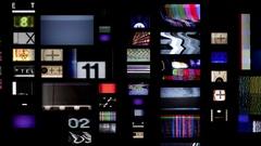 Pan changing tv screens Stock Footage