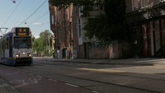 View from 5 tram moving in the city at the day, Amsterdam, Netherlands Stock Footage