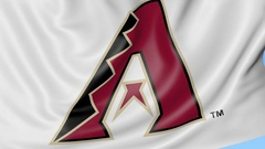 Close-up of waving flag with Arizona Diamondbacks MLB baseball team logo Stock Footage