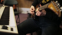 Man Playing Vintage Looking Electric Guitar Stock Footage