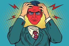 Anger or headache in men Stock Illustration