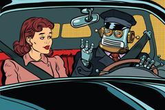 Vintage retro robot autopilot car, woman passenger in unmanned v Stock Illustration