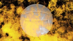 Volleyball on fire Stock Footage
