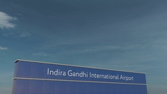 Commercial airplane taking off at Indira Gandhi Airport 3D conceptual 4K Stock Footage