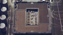 Close up Technology background. Electronic circuit chip on PC socket Stock Footage