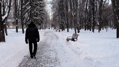 Rest in the Winter City. People Walking Stock Footage