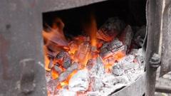 Serbian rakija boiler fire in distilled process procedure Stock Footage
