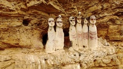 PERU: Carajia. Karajia with sarcophagi of the pre-inca culture of the Chachapoya Stock Footage