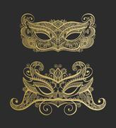 Set of two gold lineart venetian carnival lace mask silhouette Stock Illustration