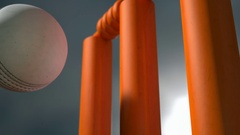 Cricket ball hitting orange wickets view 1 EX Stock Footage