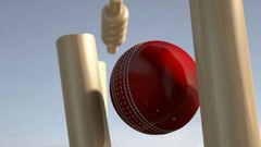 Cricket ball hitting wickets view 2 EX Stock Footage