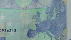 Macro shot of Euro currency notes Stock Footage