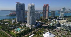 Aerial video of highrise condominiums at South Pointe Park Miami Beach Stock Footage