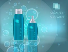 Glamorous Hair Care Products Packages on the  sparkling effects Stock Illustration