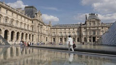 PARIS, FRANCE, Fountains reflection of French Louvre Museum Stock Footage