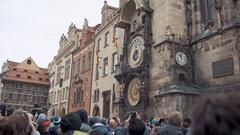 Prague, Czech Republic - December 24, 2016: Astronomical Clock one of the Stock Footage