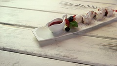 Desserts with berries. Stock Footage