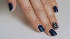 Female fingers after manicure session, blue and gold nail polish on white table Stock Footage