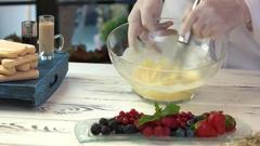 Tiramisu ingredients on a table. Stock Footage