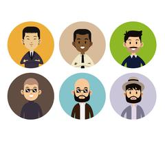 Different man face people style circle icons Stock Illustration