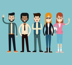 Group fashionable people happy standing Stock Illustration