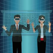 Couple interactivity vr goggles display virtual technology Stock Illustration