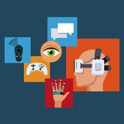 Set virtual reality devices technology Stock Illustration