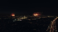 Aerial night view of the Leninsky Avenue and sparkling fireworks, Moscow, Russia Stock Footage