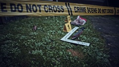 4K Crime Scene with Evidence Do Not Cross Stock Footage