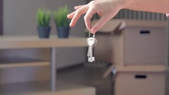 Woman Showing The House Keys, real time Stock Footage