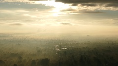 Los Angeles San Fernando Valley Morning Fog and Clouds Zoom Out Stock Footage