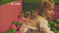 VHS game room girl ball pool 2 Stock Footage