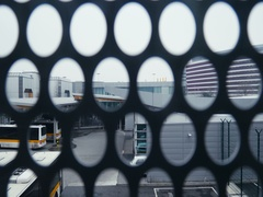 Frankfurt Airport detail view from elevator Stock Footage