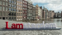 Timelapse of city and I amsterdam slogan Stock Footage