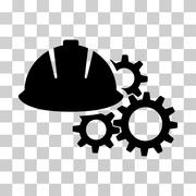 Engineering Helmet And Gears Vector Icon Stock Illustration