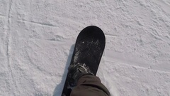 Ski resort. Snowboarder. The athlete rides the snowboard on snow. The healthy Stock Footage