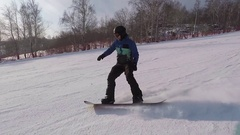 Ski resort. The sunny weather allows athletes to ride and enjoy free time. The Stock Footage