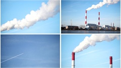 Four in one: ecology Industrial landscape - power plant at sunny day Stock Footage