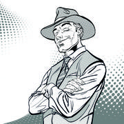Happy cowboy. Cartoon character. Wild west.. Halftone background. Stock Illustration