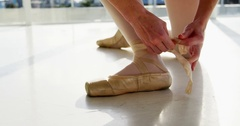 Ballerina wearing ballet shoes Stock Footage