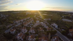 Expensive property for sale or rent in Cyprus tourist resort, sunset on horizon Stock Footage
