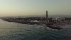Aerial shot of Gran Canaria coast with lighthouse Stock Footage